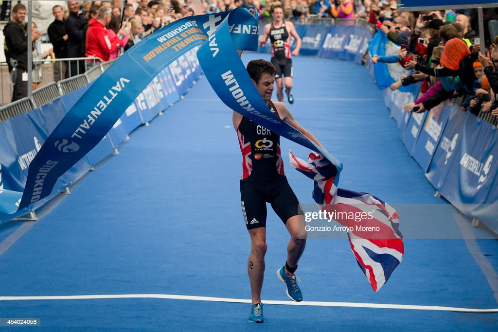 Jonathan Brownlee from Great Britain crosses the finish line at the end of the Elite Men Sprint Race during the ITU World Triathlon on August 23 2014...