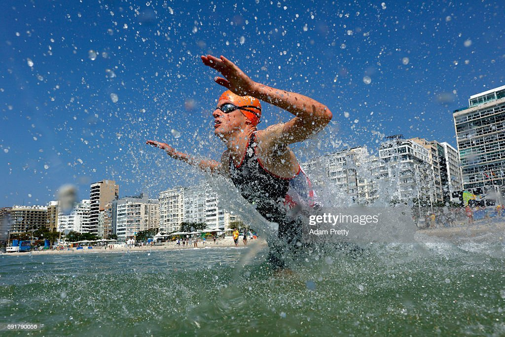 Jonathan Brownlee of Great Britain competes during the Men's Triathlon at Fort Copacabana on Day 13 of the 2016 Rio Olympic Games on August 18 2016...