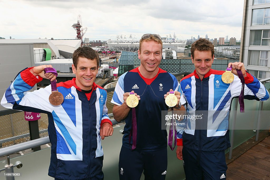 <a gi-track='captionPersonalityLinkClicked' href=/galleries/search?phrase=Jonathan+Brownlee&family=editorial&specificpeople=5426331 ng-click='$event.stopPropagation()'>Jonathan Brownlee</a>, Sir <a gi-track='captionPersonalityLinkClicked' href=/galleries/search?phrase=Chris+Hoy&family=editorial&specificpeople=171259 ng-click='$event.stopPropagation()'>Chris Hoy</a> and <a gi-track='captionPersonalityLinkClicked' href=/galleries/search?phrase=Alistair+Brownlee&family=editorial&specificpeople=5417062 ng-click='$event.stopPropagation()'>Alistair Brownlee</a> of Team GB pose with their medals at the adidas Olympic Media Lounge at Westfield Stratford City on August 8, 2012 in London, England.