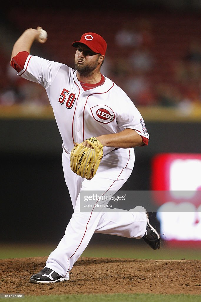 <a gi-track='captionPersonalityLinkClicked' href=/galleries/search?phrase=Jonathan+Broxton&family=editorial&specificpeople=551385 ng-click='$event.stopPropagation()'>Jonathan Broxton</a> #50 of the Cincinnati Reds delivers the pitch during the game against the Pittsburgh Pirates at Great American Ball Park on September 10, 2012 in Cincinnati, Ohio. The Reds defeated the Pirates 4-3 in 14 innings.