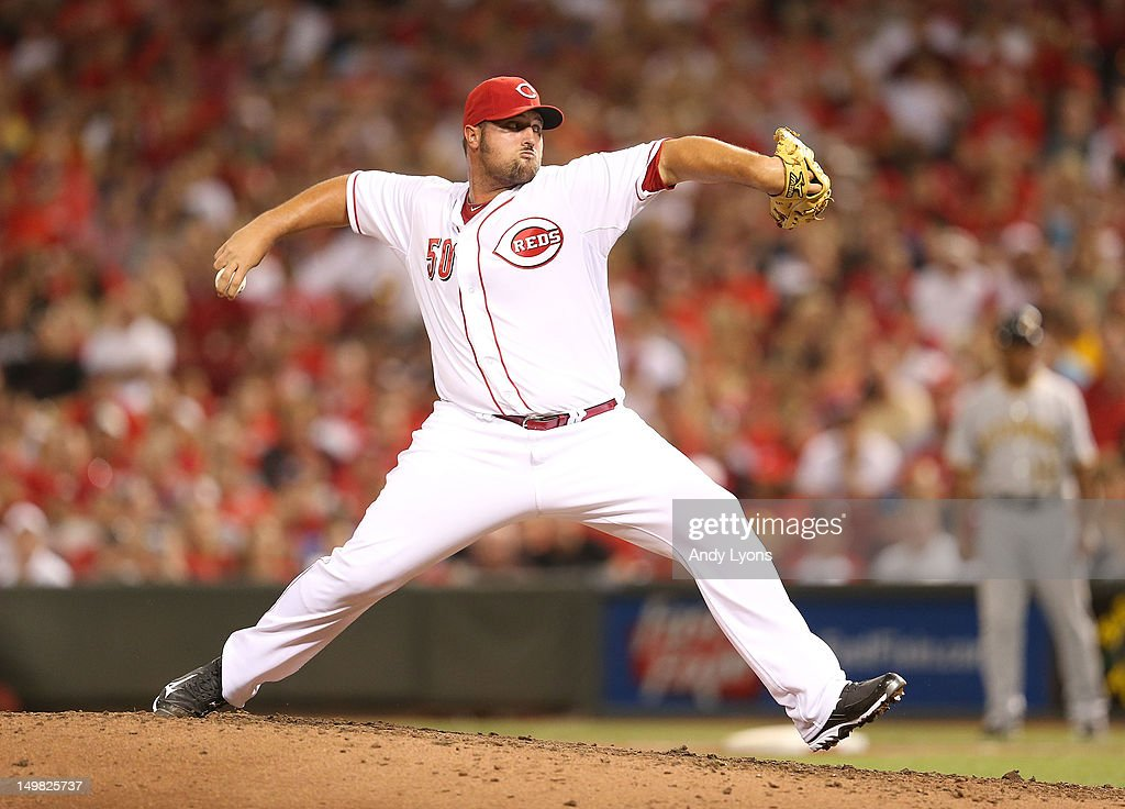 <a gi-track='captionPersonalityLinkClicked' href=/galleries/search?phrase=Jonathan+Broxton&family=editorial&specificpeople=551385 ng-click='$event.stopPropagation()'>Jonathan Broxton</a> #50 of the Cincinnati Reds throws a pitch during the game against the Pittsburgh Pirates at Great American Ball Park on August 4, 2012 in Cincinnati, Ohio.