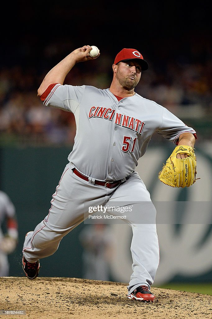 <a gi-track='captionPersonalityLinkClicked' href=/galleries/search?phrase=Jonathan+Broxton&family=editorial&specificpeople=551385 ng-click='$event.stopPropagation()'>Jonathan Broxton</a> #51 of the Cincinnati Reds throws a pitch in the eighth inning of a game against the Washington Nationals at Nationals Park on April 26, 2013 in Washington, DC.