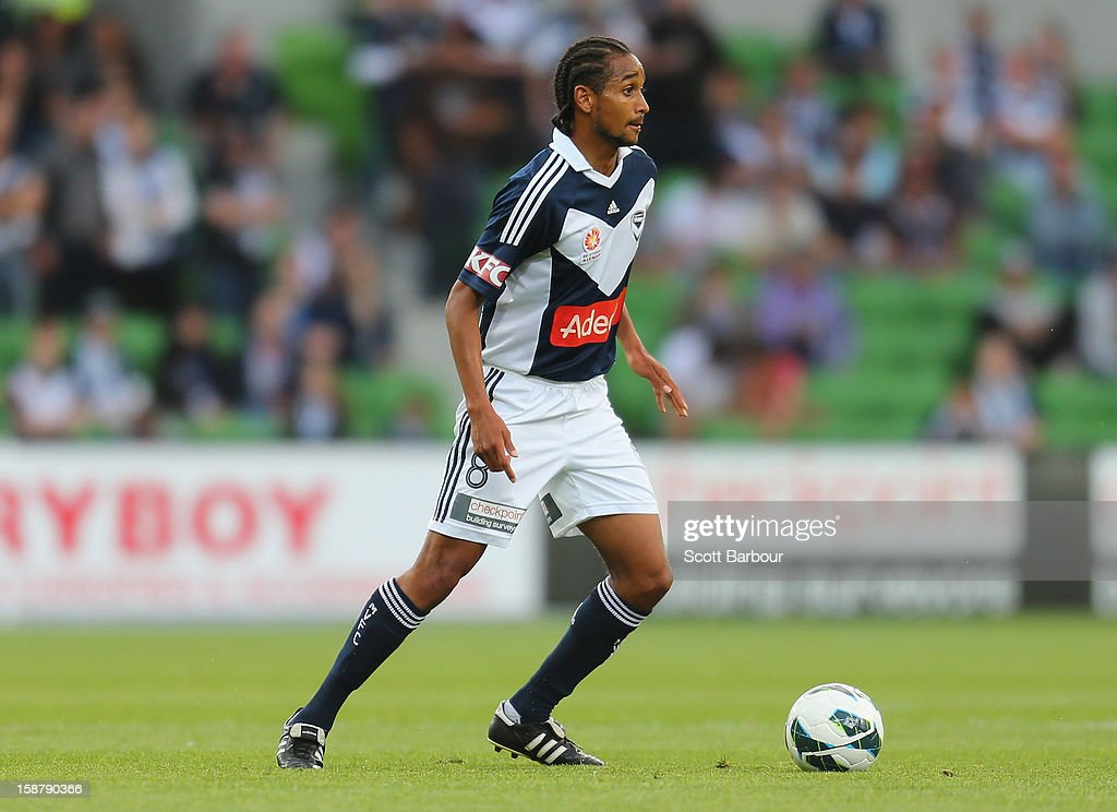 Jonathan Bru of the Victory controls the ball during the round 13 A-League match between the Melbourne Victory and the Newcastle Jets at AAMI Park on December 28, 2012 in Melbourne, Australia.