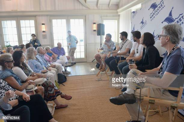 Jonathan Burkhart Jared Moshe Ryan Eggold Lauren Wolkstein and Angus McLachlan attend 'Morning Coffee' during the 2017 Nantucket Film Festival Day 5...