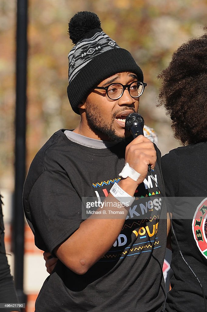 Jonathan Butler a University of Missouri grad student who did a 7 day hunger strike addresses students on the campus of University of Missouri...
