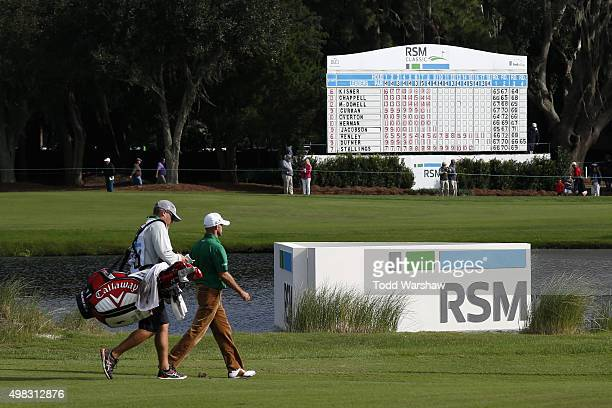 Jonathan Byrd approaches the 18th green on the Seaside Course during the final round of The RSM Classic on November 22 2015 in St Simons Island...