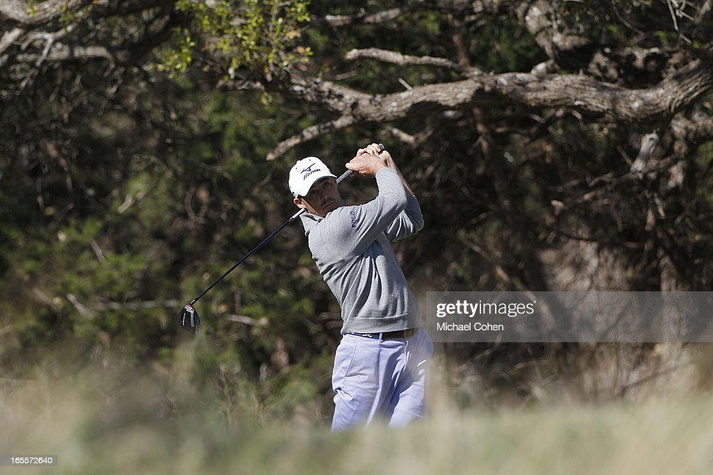 Jonathan Byrd hits a drive during the first round of the Valero Texas Open held at the AT&T Oaks Course at TPC San Antonio on April 4, 2013 in San Antonio, Texas.