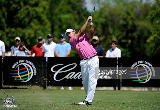 Jonathan Byrd plays a shot from the third tee box during the final round of the World Golf ChampionshipsCadillac Championship at TPC Blue Monster at...