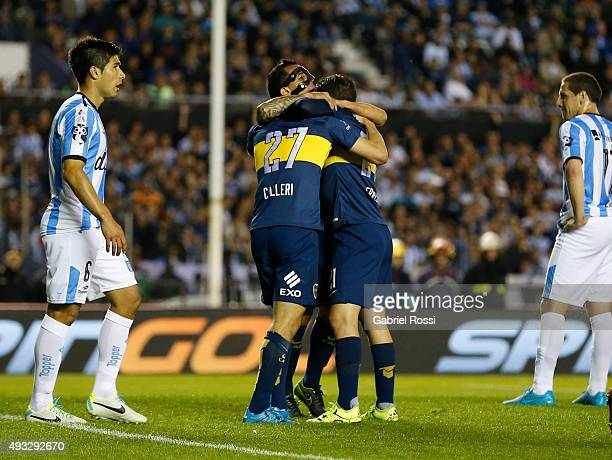 Jonathan Calleri of Boca Juniors and teammates celebrate their team's first goal during a match between Racing Club and Boca Juniors as part of round...