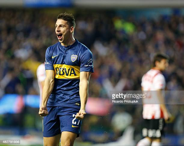 Jonathan Calleri of Boca Juniors celebrates after scoring the opening goal during a match between Boca Juniors and Union Santa Fe as part of 19th...