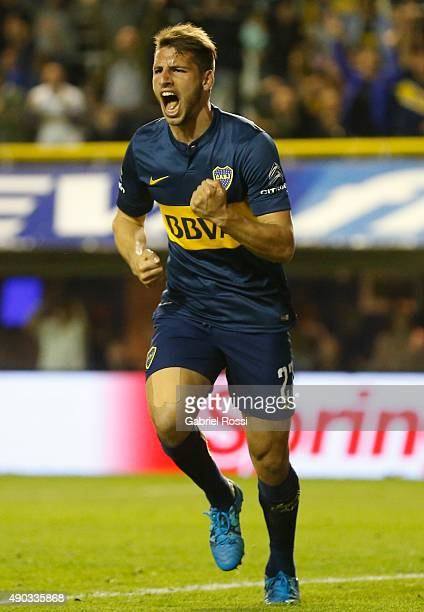 Jonathan Calleri of Boca Juniors celebrates after scoring the second goal of his team during a match between Boca Juniors and Banfield as part of...