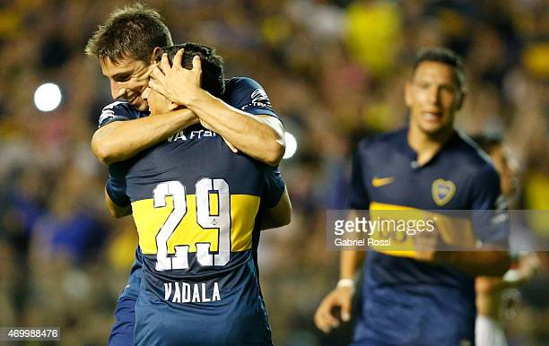 Jonathan Calleri of Boca Juniors celebrates with Guido Vadalá after scoring his team's second goal during a match between Boca Juniors and Palestino...