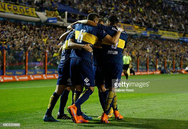 Jonathan Calleri of Boca Juniors celebrates with his teammates after scoring the second goal of his team during a match between Boca Juniors and...