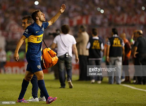 Jonathan Calleri of Boca Juniors gestures to fans of River Plate at the end of a second leg semifinal match between River Plate and Boca Juniors as...