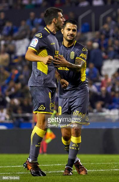 Jonathan Calleri of UD Las Palmas and Victor Machin 'Vitolo' of UD Las Palmas celebrate the third goal during the Copa del Rey first leg match...