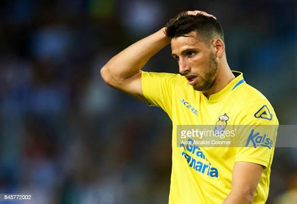 Jonathan Calleri of Union Deportiva Las Palmas looks on during the La Liga match between Malaga and Las Palmas at Estadio La Rosaleda on September 11...