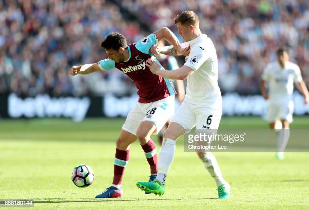 Jonathan Calleri of West Ham United annd Alfie Mawson of Swansea City battle for possession during the Premier League match between West Ham United...