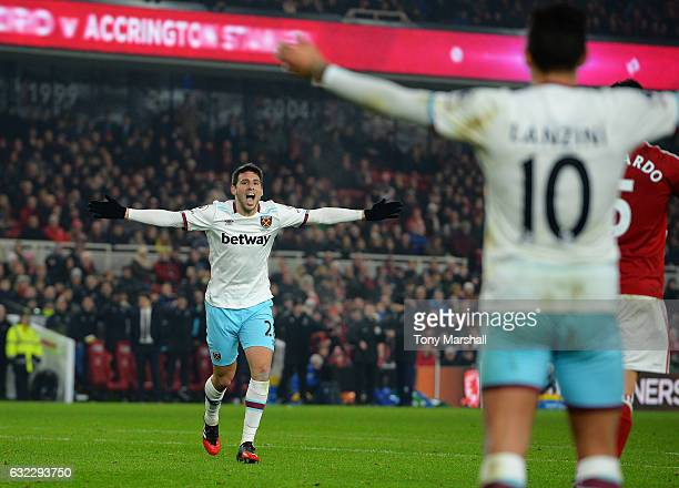 Jonathan Calleri of West Ham United celebrates scoring his sides third goal during the Premier League match between Middlesbrough and West Ham United...