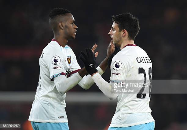 Jonathan Calleri of West Ham United celebrates scoring his sides third goal with Pedro Obiang of West Ham United during the Premier League match...