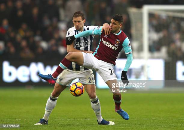 Jonathan Calleri of West Ham United controls the ball under pressure of Craig Dawson of West Bromwich Albion during the Premier League match between...