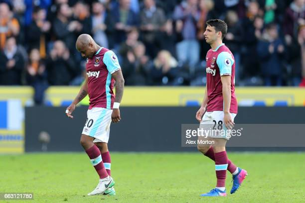 Jonathan Calleri of West Ham United walks off dejected after the Premier League match between Hull City and West Ham United at KCOM Stadium on April...