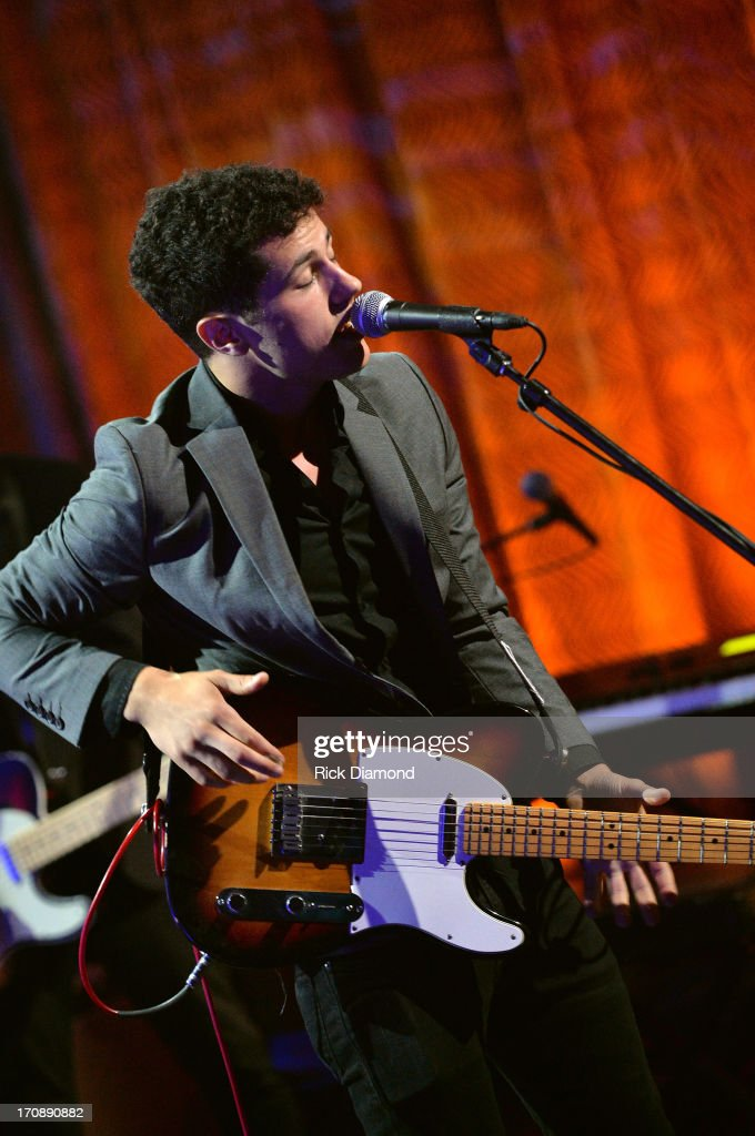 Jonathan Capeci of Dinner and a Suit performs during the MTV, VH1, CMT & LOGO 2013 O Music Awards at the CMT office on June 19, 2013 in Nashville, Tennessee.