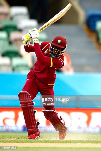 Jonathan Carter of West Indies bats during the 2015 ICC Cricket World Cup match between the West Indies and United Arab Emirates at McLean Park on...