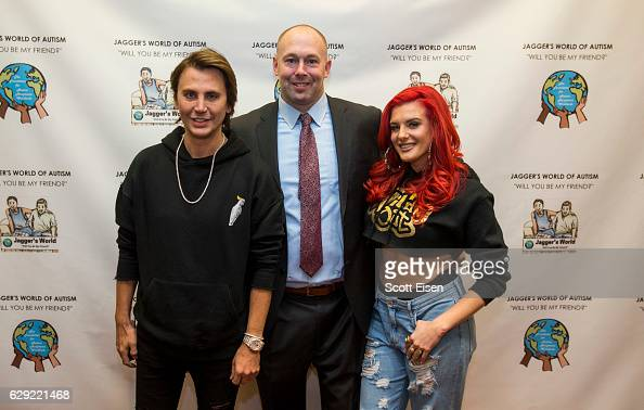 Jonathan Cheban left with Dennis Vanasse author cofounder and vice president of The Foundation for Autism Acceptance Worldwide and Justina Valentine...