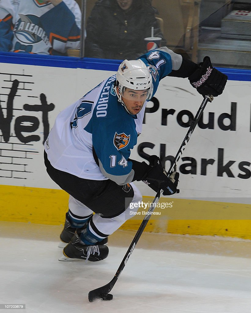 <a gi-track='captionPersonalityLinkClicked' href=/galleries/search?phrase=Jonathan+Cheechoo&family=editorial&specificpeople=208925 ng-click='$event.stopPropagation()'>Jonathan Cheechoo</a> #14 of the Worcester Sharks carries the puck against the Charlotte Checkers at the DCU Center on November 27, 2010 in Worcester Massachusetts.