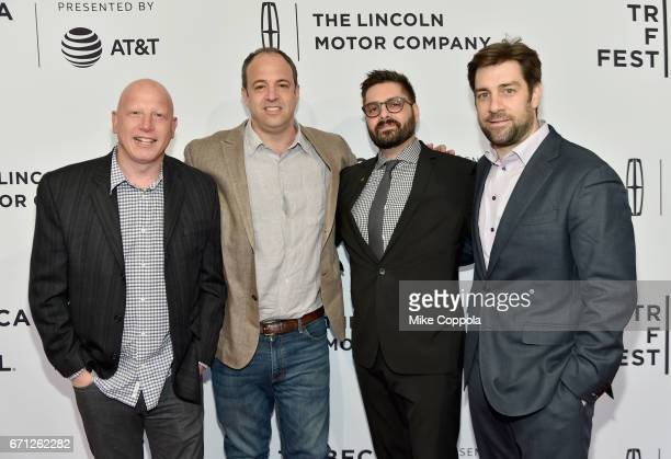 Jonathan Chinn Simon Chinn Tim Pastore and Matt Renner attend the 'LA 92' Premiere during 2017 Tribeca Film Festival at SVA Theatre on April 21 2017...