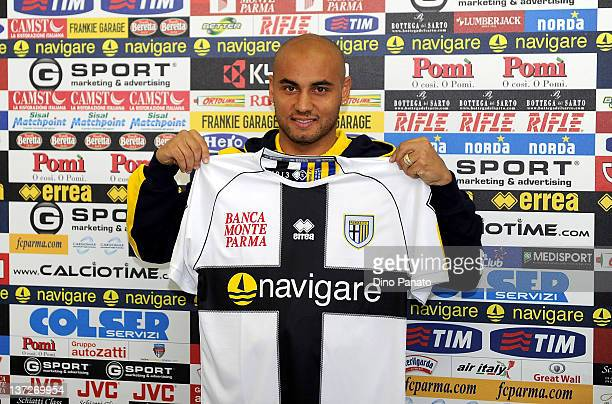 Jonathan Cicero Moreira a new player of Parma FC poses during a press conference on January 18 2012 in Collecchio Italy