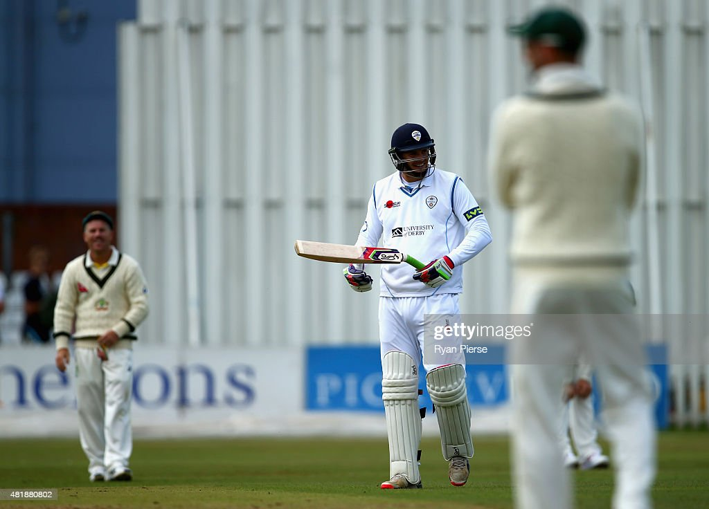 Jonathan Clare of Derbyshire reacts after breaking his bat before facing his first ball during day three of the Tour Match between Derbyshire and...