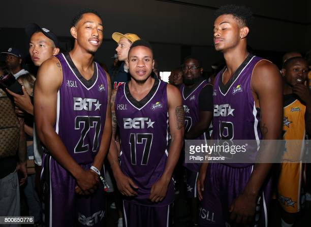 Jonathan Clark Rotimi and Trevor Jackson backstage at the Celebrity Basketball Game presented by Sprite and State Farm during the 2017 BET Experience...