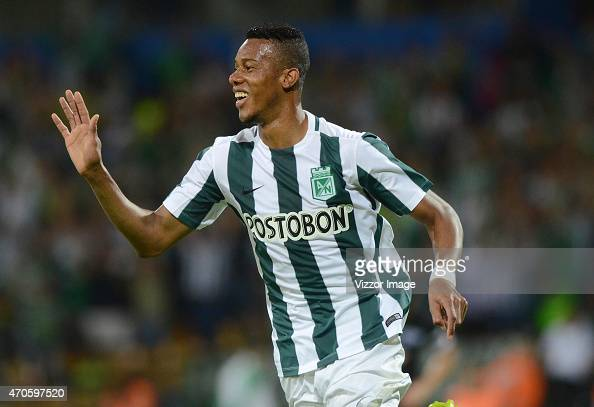 Jonathan Copete of Atletico Nacional celebrates after scoring during a match between Atletico Nacional and Libertad as part of Group 7 of Copa...