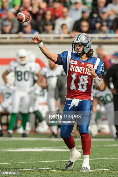 Jonathan Crompton of the Montreal Alouettes throws the ball during the CFL game against the Saskatchewan Roughriders at Percival Molson Stadium on...
