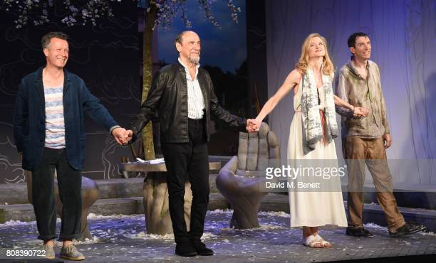 Jonathan Cullen F Murray Abraham Naomi Frederick and Daniel Weyman bow at the curtain call during the press night performance of 'The Mentor' at The...
