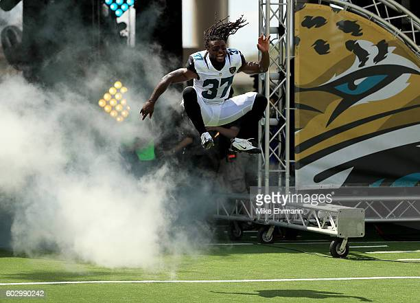 Jonathan Cyprien of the Jacksonville Jaguars during warms ups for the game against the Green Bay Packers at EverBank Field on September 11 2016 in...