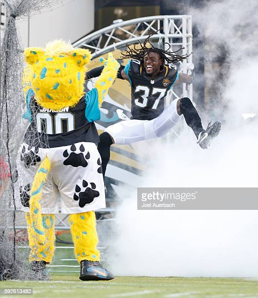 Jonathan Cyprien of the Jacksonville Jaguars is introduced prior to the preseason game against the Tampa Bay Buccaneers on August 20 2016 at EverBank...