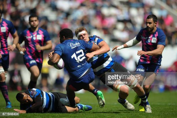 Jonathan Danty of Stade Francais and Tom Ellis of Bath during the European Challenge Cup semi final between Stade Francais and Bath on April 23 2017...