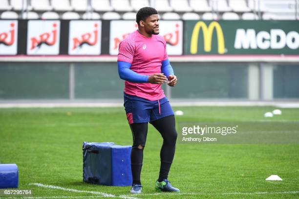 Jonathan Danty of Stade Francais during the training session of the Stade Francais at Stade Jean Bouin on March 24 2017 in Paris France