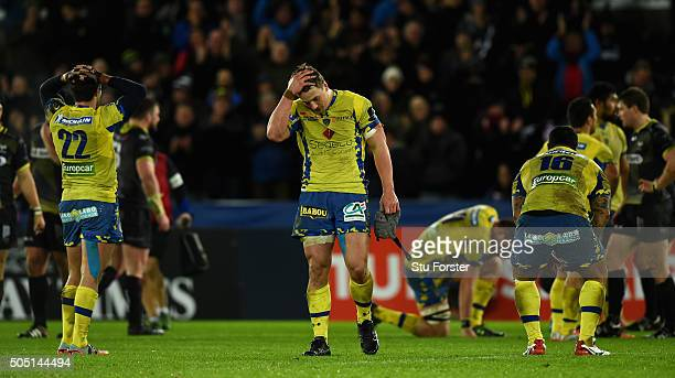 Jonathan Davies of Clermont reacts on the final whistle after the European Rugby Champions Cup Pool 2 match between Ospreys v ASM Clermont Auvergne...
