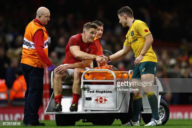 Jonathan Davies of Wales shakes hands with Bernard Foley of Australia after the Under Armour Series match between Wales and Australia at Principality...