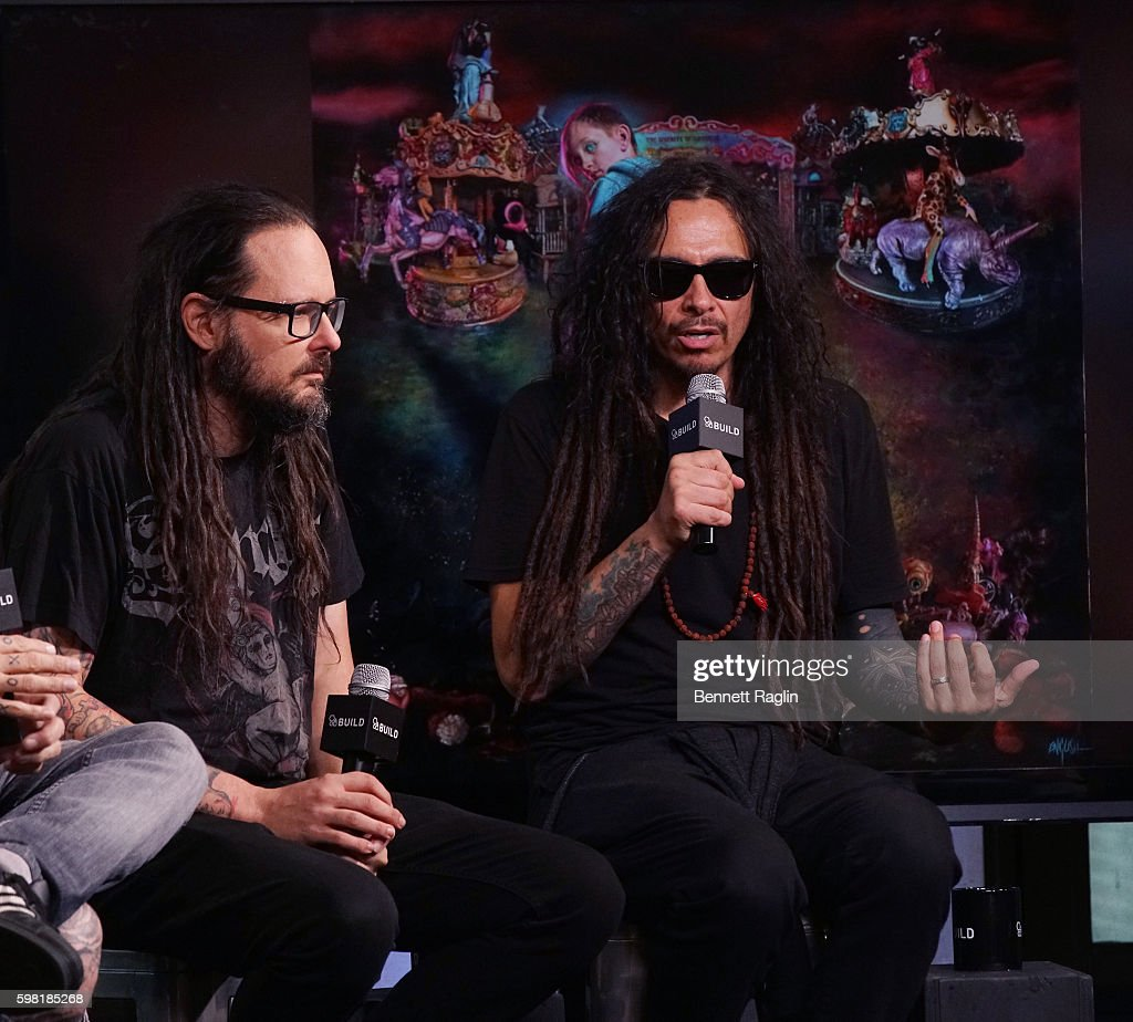 Jonathan Davis and James Murky Shaffer attend the BUILD Series presents Korn discusses 'The Serenity of Suffering' at AOL HQ on August 31, 2016 in New York City.