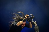 Jonathan Davis leader and vocalist of the US rock band Korn performs at the Rock in Rio Lisboa music festival at Bela Vista Park in Lisbon on May 27...