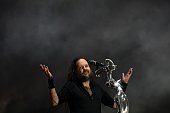 Jonathan Davis leader and vocalist of the US rock band Korn reacts to technical problems that caused the cancelation of the band performance at the...