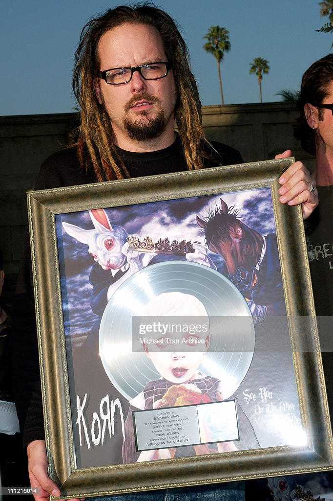 Jonathan Davis of KORN during Korn Press Conference to Announce Their 'See You On the Other Side' Tour at Hollywood Forever Cemetery in Hollywood, California, United States.