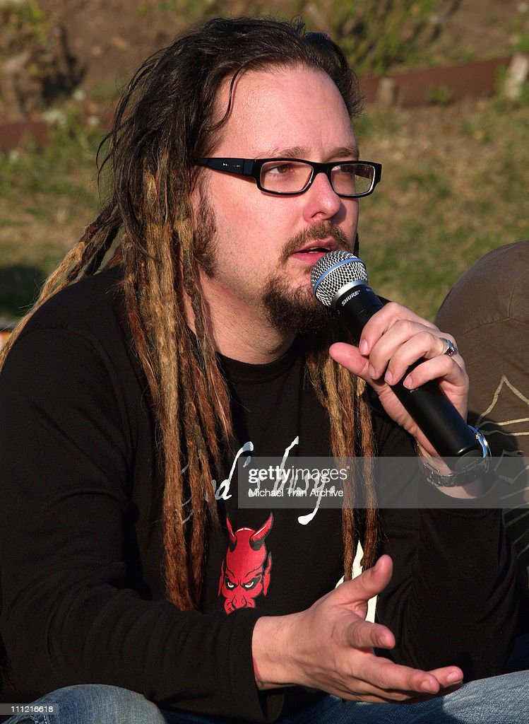 Jonathan Davis of KORN during Korn Press Conference to Announce Their 'See You On the Other Side' Tour at Hollywood Forever Cemetery in Hollywood...