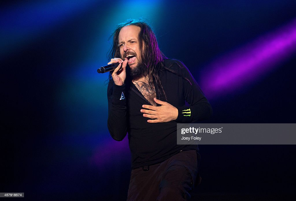 Jonathan Davis of KORN performs live onstage during the 2014 Louder Than Life Festival at Champions Park on October 4 2014 in Louisville Kentucky