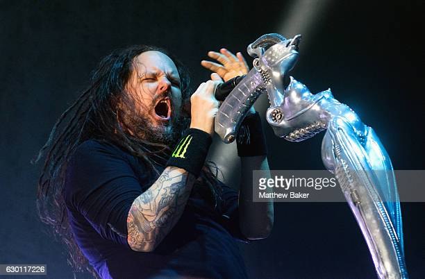 Jonathan Davis of Korn performs on stage at the SSE Arena on December 16 2016 in London England