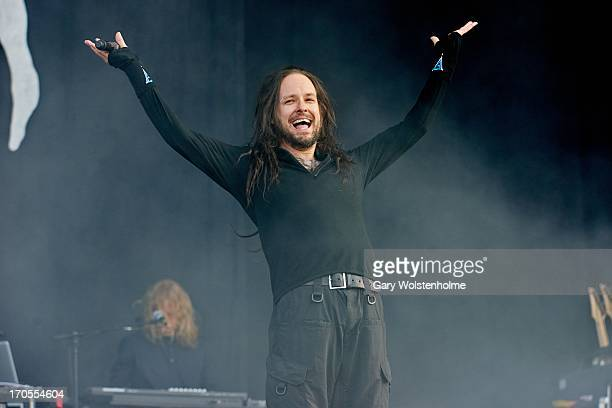 Jonathan Davis of Korn performs on stage on Day 1 of Download Festival 2013 at Donnington Park on June 14 2013 in Donnington England